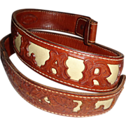 """LARRY HAGMAN'S ESTATE - Tooled Leather Belt Reading """"Larry"""" and """"LH"""""""