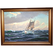 REDUCED Svend Drews (1919 - 2003) - Magnificent Large Marine Painting, Oil On Canvas,