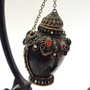 """Tibetan Snuff Bottle With Faux """"Jeweled"""" Silvered Mounts, Vintage (Or Earlier), Hang"""