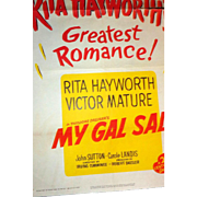 "1949 Litho Movie Poster - Rita Hayworth and Victor Mature  ""My Gal Sal"" - Numbered L"