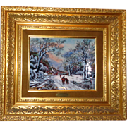 """L'Hiver"" (Winter) Enamel Painting on Copper - Signed and Numbered - Betourne Studio"
