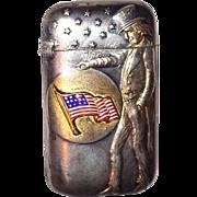 Rare American Silver Plate, Gilt And Enamel  Exposition Match Safe, Vesta,  Circa
