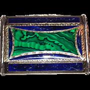 Continental Silver, Silver Gilt, Malachite And Lapis Card Case,  Circa 1910