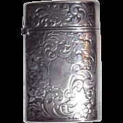 Gilbert Silver Match Case (Vesta) - Engraved Scrolling - Circa 1900