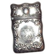 Gorham Silver Match Safe (Vesta) With Scrolled Borders, Listed, Circa 1898