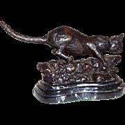 Bronze Sculpture - Wild Cat - Signed Mene, Well-Listed Artist