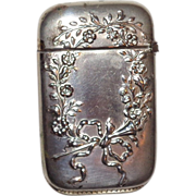 Bristol Silver-Plated Antique Match Safe (Vesta) With Floral Wreath And Ribbon Decoration, ...