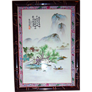 Chinese Porcelain Plaque - Wonderful Scene - With Signed Chinese Inscription - Tranquil and Ex