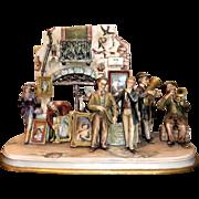 "REDUCED Borsato ""Street Scene"" - Huge Multi-Figural Incredibly Detailed Porcelain Sc"