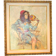 "REDUCED Original Signed Watercolor ""Woman Relaxing"" by Well-Listed Artist Richard Je"