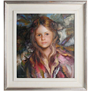"SOLD Francisco Masseria (Argentine,1927-2002) - ""Portrait Of A Young Girl"" - Origina"