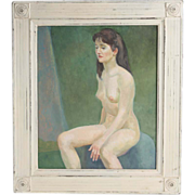 """REDUCED """"Seated Nude On Blue Chair"""" Oil on Board - by Well-Listed Artist Raphael Soy"""