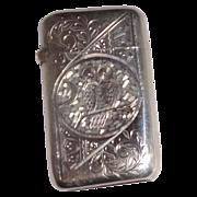 Antique Silver Match Safe (Vesta) - Engraved Owl, Scroll and Stylized Palmette Decoration to f