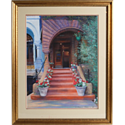 "REDUCED William Nelson - ""Stairway With Geraniums"" - Exquisite Pastel - Signed and D"