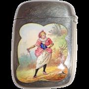 REDUCED Gorham Antique Silver And Enamel Match Safe (Vesta), Listed, Circa 1892