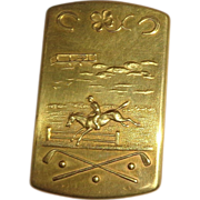 Jumping Horse, Airplane, Golf Club And Horseshoe, All On This Antique American Brass Match Saf