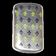 Antique Silver And Enamel Match Safe (Vesta) With Fleur de lis by Ludwig, Redlich, & Co.