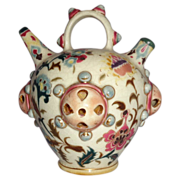 REDUCED Rare and Special - 1870-1895 Zsolnay Hungary Pottery Water Jug or Incense Jar