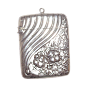Antique LISTED Gorham Sterling Silver Match Safe (Vesta), Swirled Rib And Stylized Floral Deco