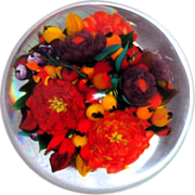 "SOLD RICK AYOTTE - ""Abundance"" Magnum Double Bouquet Paperweight - Signed Very Limit"