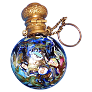 Antique Venetian Round Scent Bottle With Gondolas and Portraits,  Very Special!