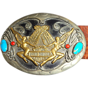 SOLD LARRY HAGMAN - Harley-Davidson Leather Belt With Metal and Turquoise Conchos