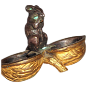 L. Carvin - Signed Bronze Mouse Sitting On An Empty Walnut Shell, France