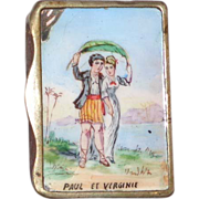 Antique French Enamel Match Safe (Vesta) - Paul and Virginie, Circa 1890
