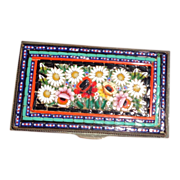 Beautiful Micro Mosaic Small Box With Sun Flowers, Roses, Buds, Foliage - Circa 1890