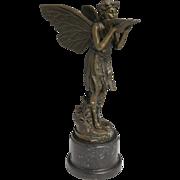 Art Nouveau Cast Bronze Fairy Sculpture With Shell