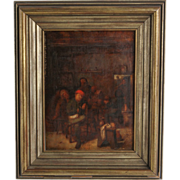 "Antique Painting -Oil on Board - Tavern Scene After Adriaen Brouwer's ""Peasants Smoking a"