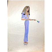 "Mixed Media Sketch Of Zuleika - By Jean Louis - From ""Salome"" (Columbia, 1953)"