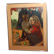 REDUCED CYD CHARISSE Estate - Pierre Bollaert (French, 20th C)  Oil on Board - Two Children