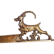 Art Deco Vienna Bronze Letter Opener With An Alpine Ibex