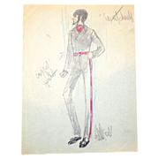"EDITH HEAD - ""Sweet Charity"" Signed Sketch - Ricardo Montalban, C 1969"