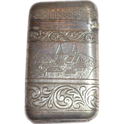 Antique American Match Safe (Vesta);  Front - River Boat With American Flag, Reverse - ...