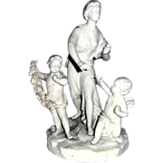 REDUCED Blanc de Chine Multi-Figural Grouping - With Lady Justice (Blindfolded) With Cherubs