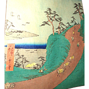 "Color Woodblock Print - ""Shirasuka – view from the Shiomi hillside"" - By Hiroshige"