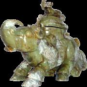 Carved Jade Lidded Vessel In Rhinoceros Form, Large, Unusual and Impressive