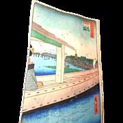 "Original Color Woodblock Print ""100 Views Of Edo"" By Hiroshige, circa 1857"