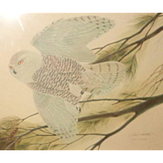"LARRY HAGMAN Estate - John Ruthven (American,  1924 -) - ""Flying Snowy Owl"" - Signed"