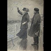 Poul Steffensen (1866-1923) - Original Antique Pencil, Pen and Watercolor Drawing on Paper, ..