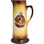 Large German Tankard With Working Man At Dinner