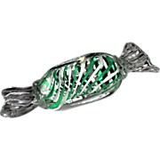 SOLD Art Glass Paperweight - Green and White Latticinio That Looks Like A Piece of Candy