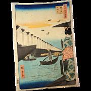 "Antique Woodblock Print ""Yoroi Ferry"" by Utagawa Hiroshige, circa 1857"