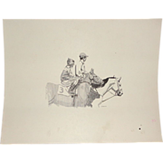 "SOLD ""On The Way To The Starting Gate"" Original Drawing by Carlton (American 20th Ce"