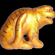 Antique Carved Wood Tiger Netsuke