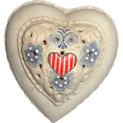 REDUCED Cybis Vintage Cybis Porcelain Stars and Stripes Heart-Shaped Lidded Box, Signed