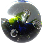 "Caithness Abstract Art Glass Paperweight ""Moonflower"" Signed, Numbered, Scotland"