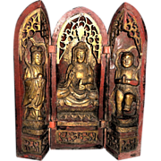 SOLD Antique Chinese Triptych Shrine, Well-Carved and Gilt Lacquered Wood - AS IS